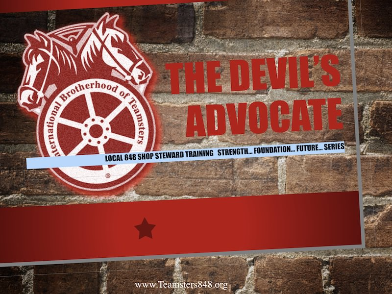 October 22, 2017 Steward Meeting – The Devil's Advocate