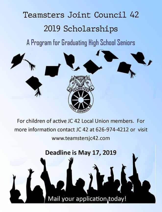 Teamsters Joint Council 42 2019 Scholarships